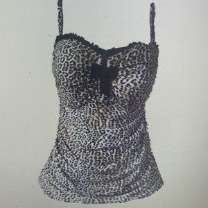 Profile by Gottex Leopard Print Tankini Top Bandea